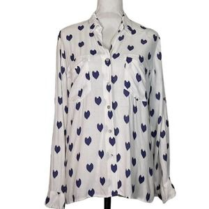 Just Living Button Down Shirt with Hearts